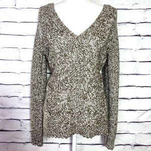 Ann Taylor Brown & Cream Wool Blend Cable Sweater